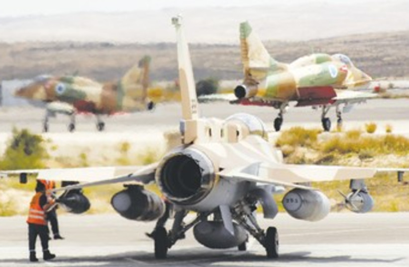 IAF A-4, F-16 jets at Hatzerim_370 (photo credit: Reuters/Amir Cohen)