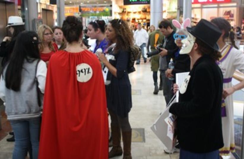 demonstrators protest against consumerist culture _370 (photo credit: Ben Hartman)