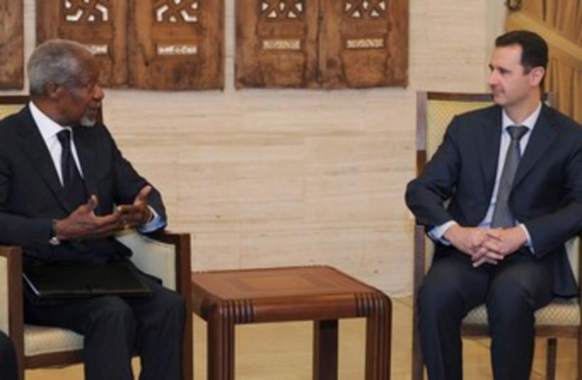 Assad meets Kofi Annan 390 (photo credit: REUTERS/SANA/Handout )