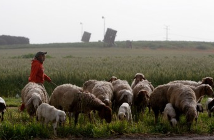 Beduin sheepherder with Iron Dome in background 370 (photo credit: REUTERS)