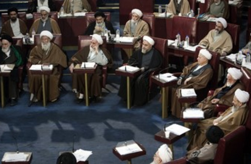 Clerics at Iran's Assembly of Experts meeting, Tehran_370 (photo credit: Raheb Homavandi/Reuters)