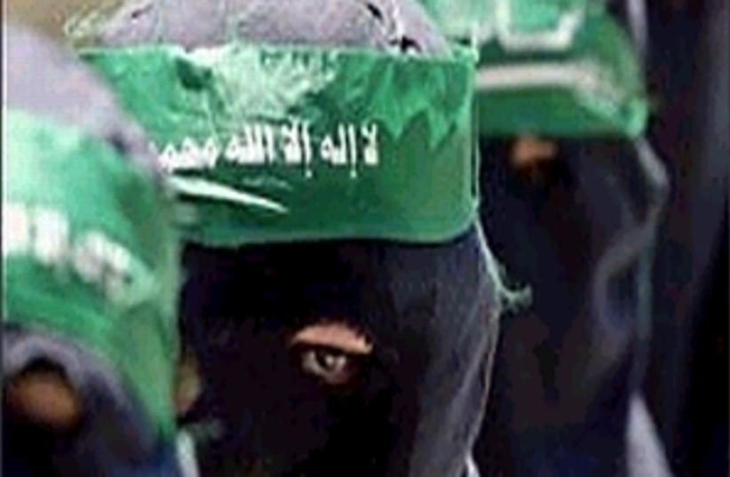 hamas men masked 298 (photo credit: AP [file])