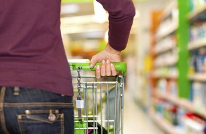Supermarket shopping cart groceries food jeans 390 (photo credit: Thinkstock/Imagebank)