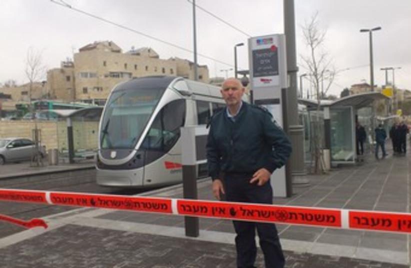 Police at Jerusalem light rail Pisgat Ze'ev (photo credit: Marc Israel Sellem/The Jerusalem Post)