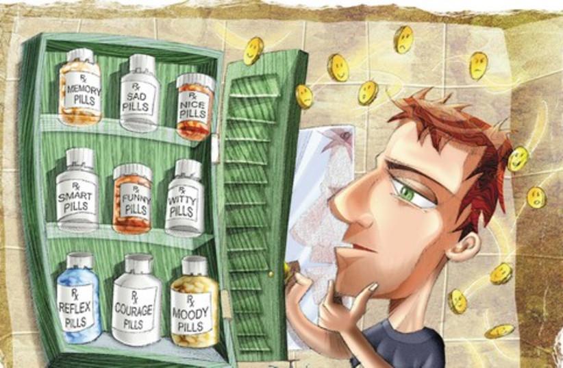 Cartoon man with pills 521 (photo credit: The Dallas Morning News/MCT)