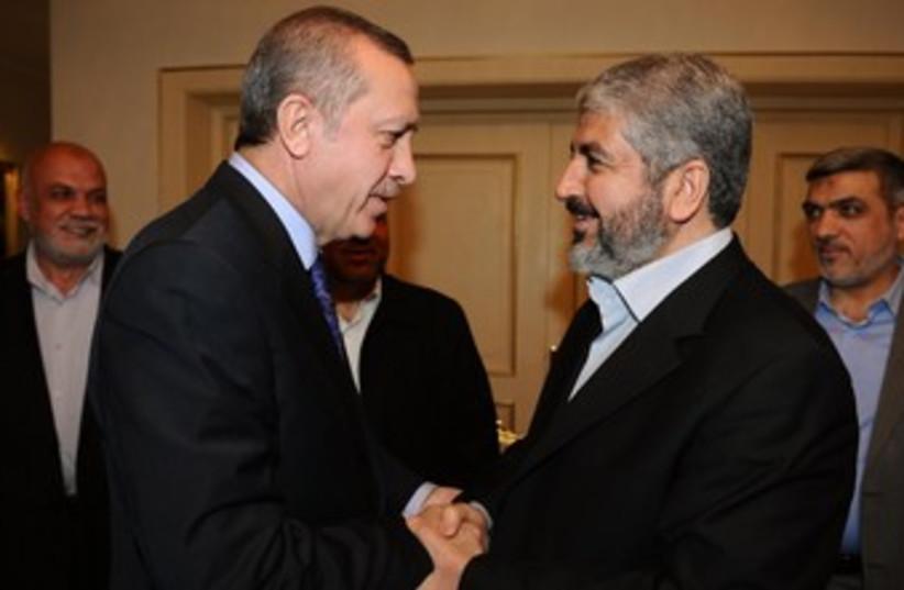 Mashaal and Erdogan meet in Ankara  370 (photo credit: REUTERS)