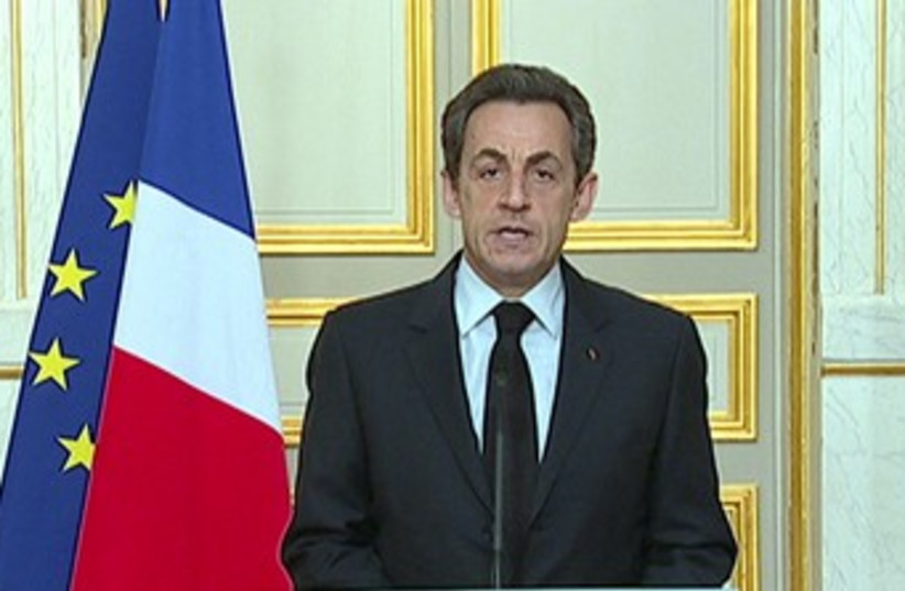 French President Nicolas Sarkozy 370 (R) (photo credit: REUTERS/France Television)