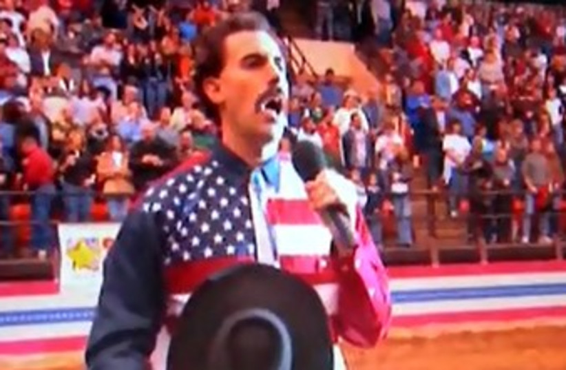 Borat national anthem 370 (photo credit: Screenshot)