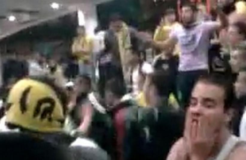 Soccer fans riot at Malha Mall 370 (photo credit: YouTube Screenshot)