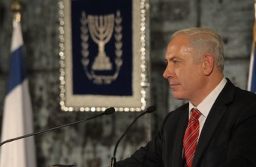 PM Netanyahu at the President's Residence 370 (photo credit: Amos Ben-Gershom/GPO)