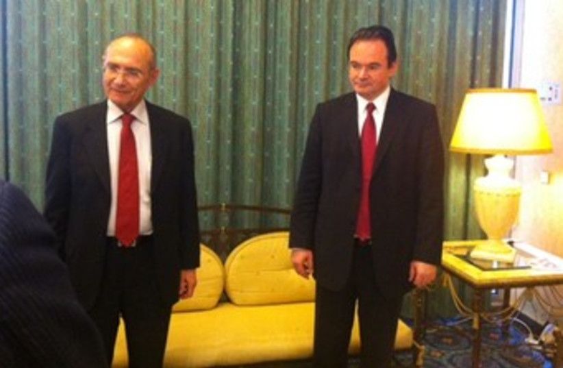 Landau with Greek counterpart 370 (photo credit: Courtesy Energy and Water Ministry)