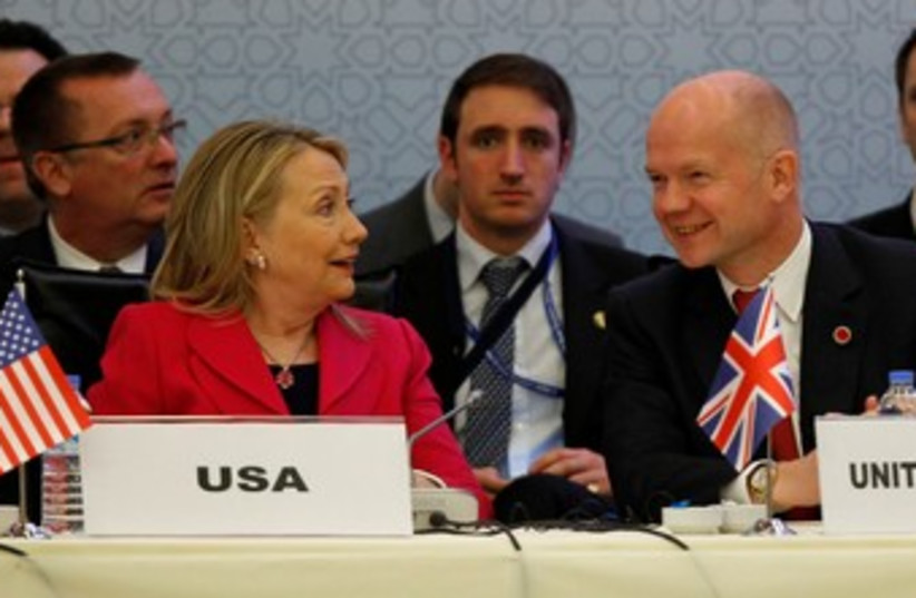 Hillary Clinton and William Hague 370 (photo credit: REUTERS/Murad Sezer )