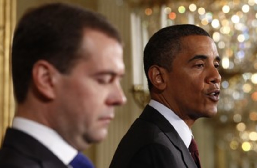 US President Obama with Russian President Medvedev 370 (photo credit: REUTERS)