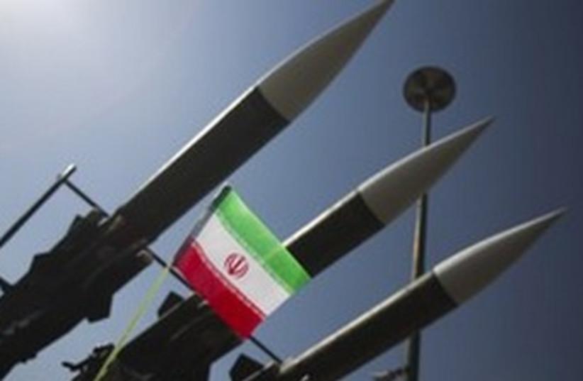 Iranian missile with flag 370 R (photo credit: REUTERS/Morteza Nikoubazl)