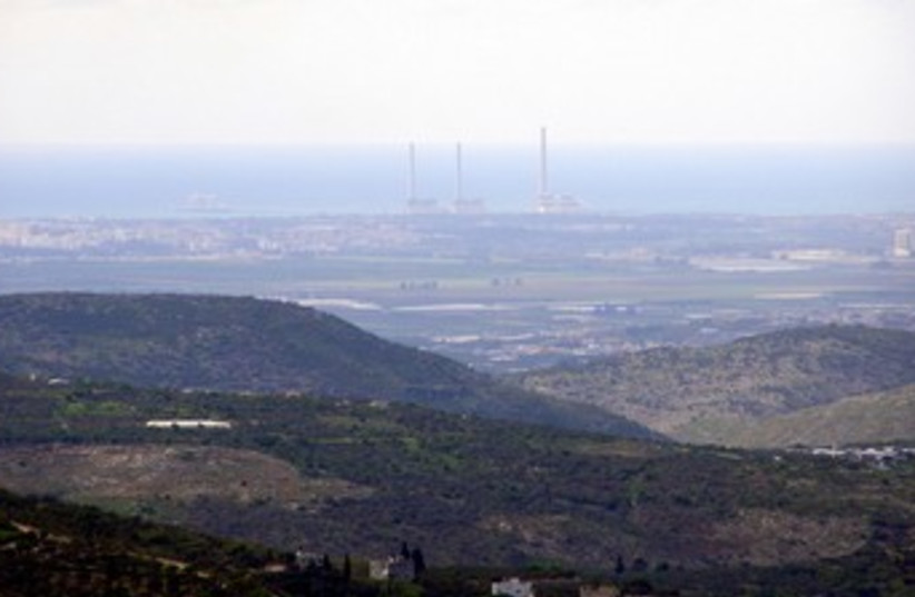 Hadera power plant seen from West Bank 370 (photo credit: Yehoar Gal)