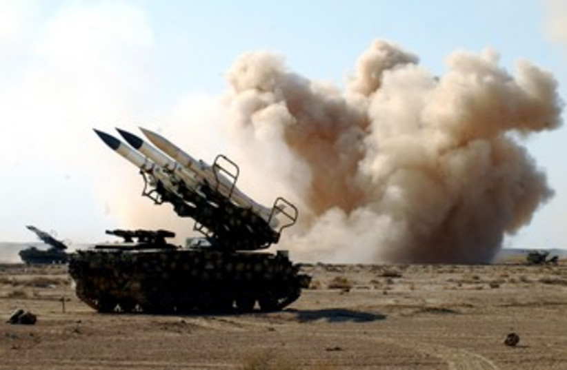 Syrian armed forces anti-aircraft missile launchers 370 (photo credit: REUTERS/Sana Sana)