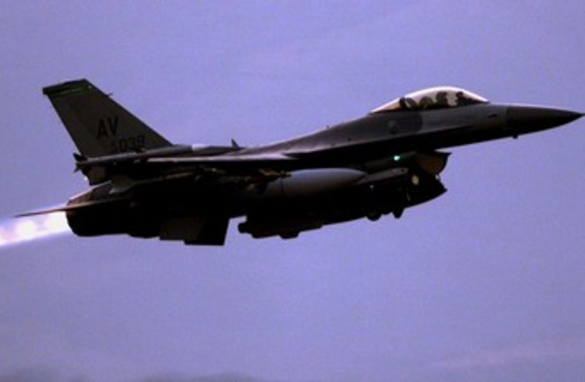 US Air Force F-16 during takeoff 370 (R) (photo credit: REUTERS)