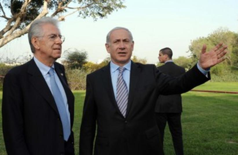Netanyahu with Italian counterpart Monti 370 (photo credit: Avi Ohayon/GPO)