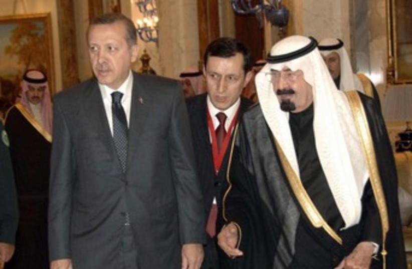 Turkish PM Erdogan, Saudi King Abdullah 370 (R) (photo credit: Reuters/Handout)