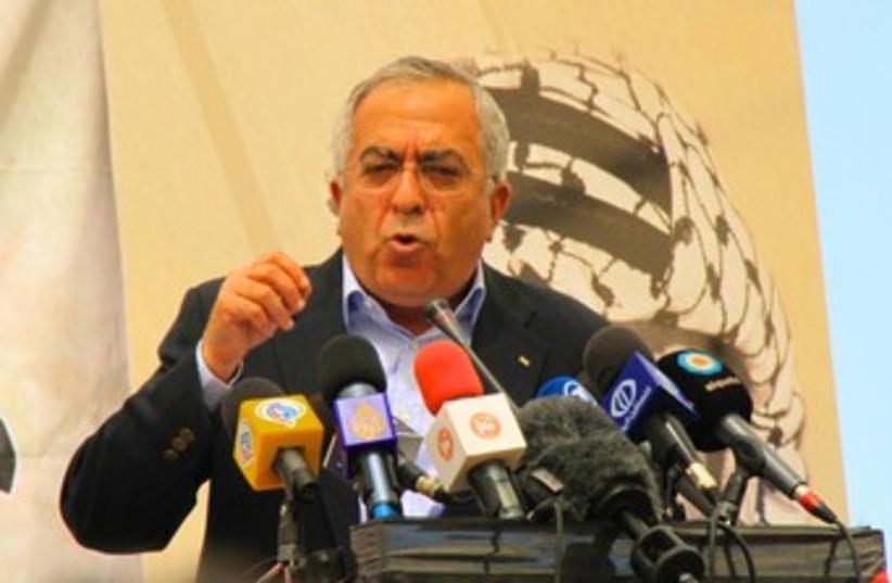 PA Prime Minister Salam Fayyad at Bil'in Conference 370 (photo credit: TOVAH LAZAROFF)