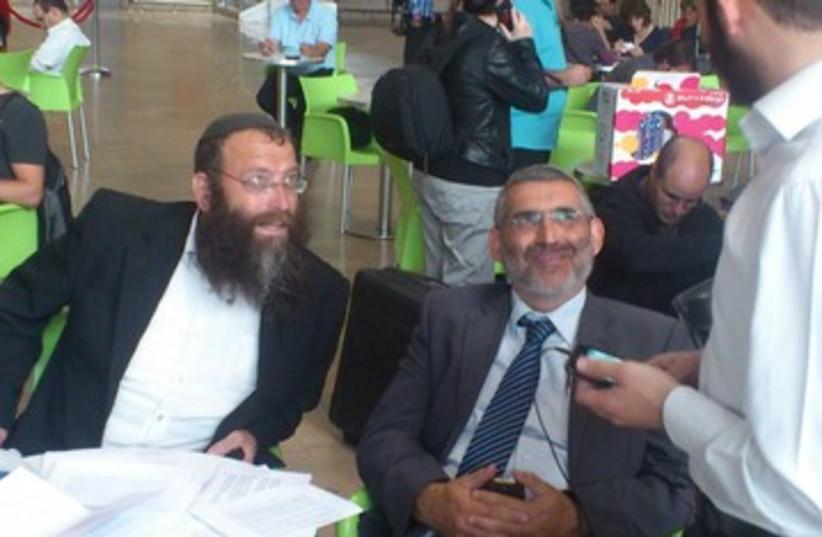 Baruch Marzel and MK Michael Ben-Ari at airport 390 (photo credit: Yaakov Lappin)