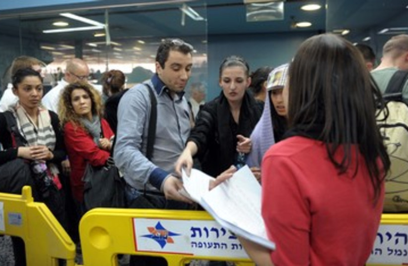 Detained 'flytilla' activists at Ben-Gurion Airport 390 (photo credit: Avi Ohayon / GPO)