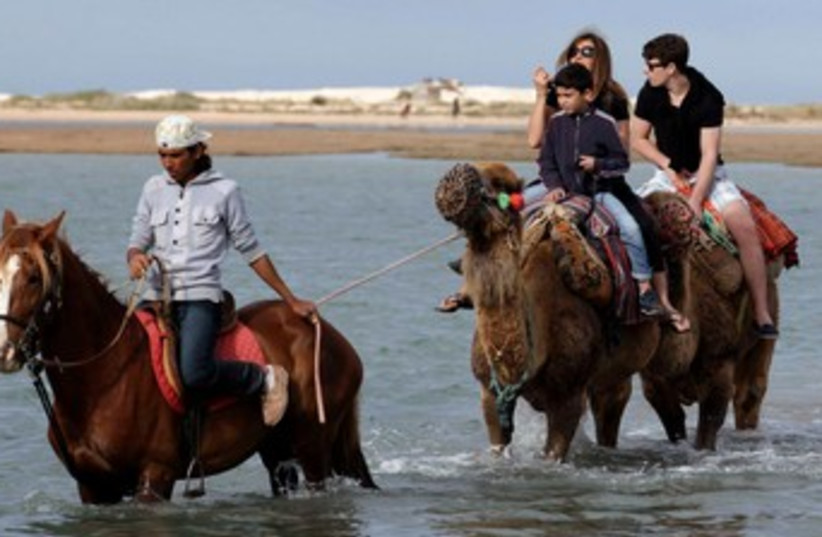 Tourists ride animals in Djerba, Tunisia 370 (photo credit: REUTERS)