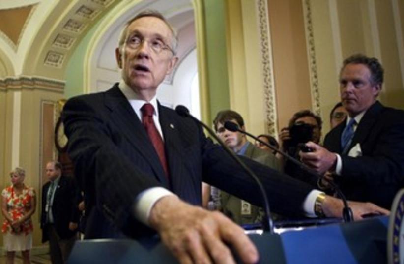 Senate Majority Leader Reid speaking in Senate 370 (photo credit: REUTERS/Joshua Roberts)