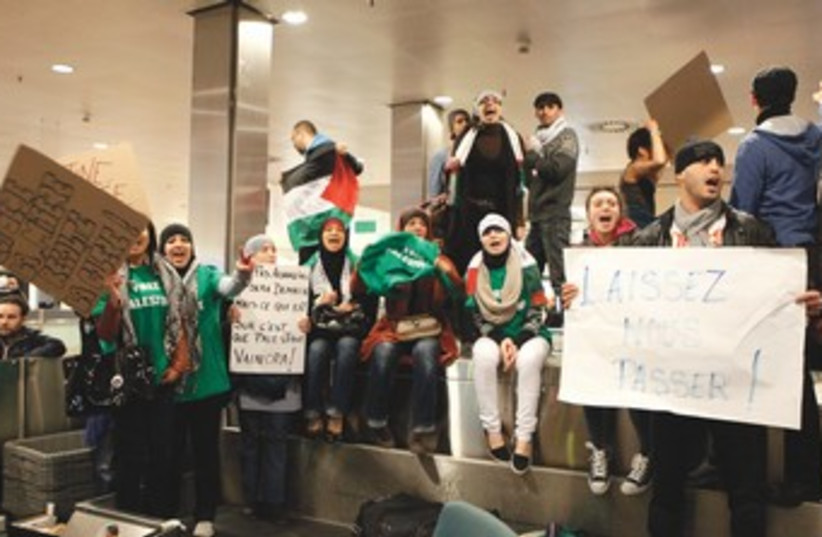 pro-Palestinian activists at Brussels airport 370 (photo credit: Reuters)