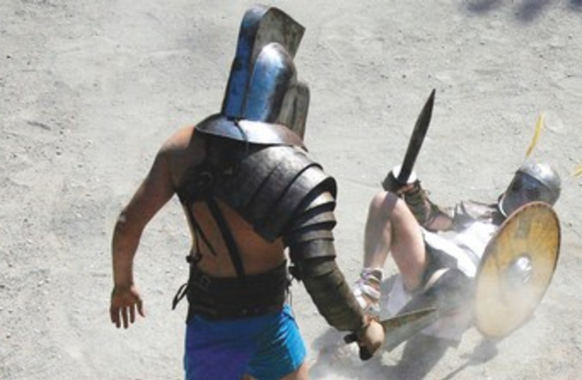Gladiator fighting school event in Rome 370 (photo credit: Reuters)