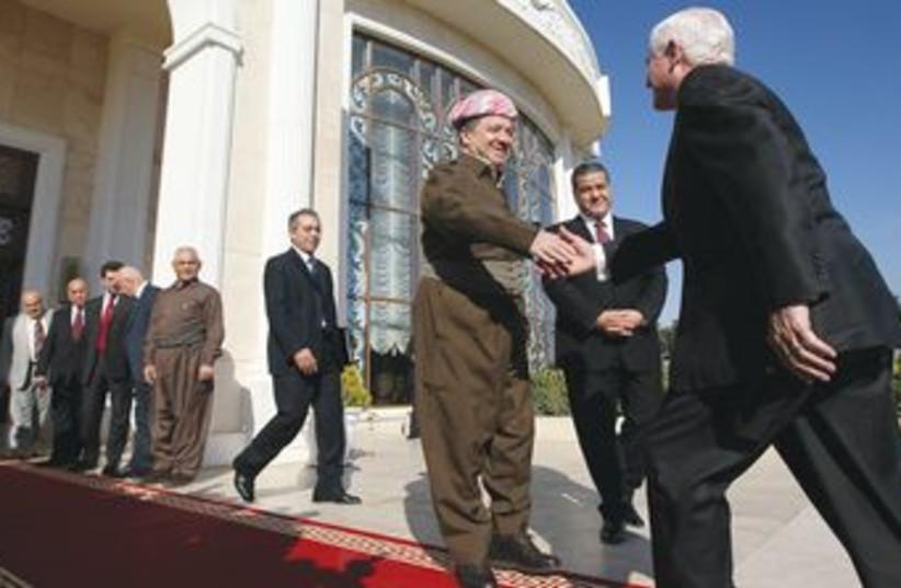 Kurdish leader MASUD BARZANI in Iraq 370 (R) (photo credit: REUTERS)
