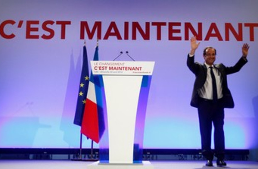 French presidential candidate Hollande 370 (photo credit: REUTERS)