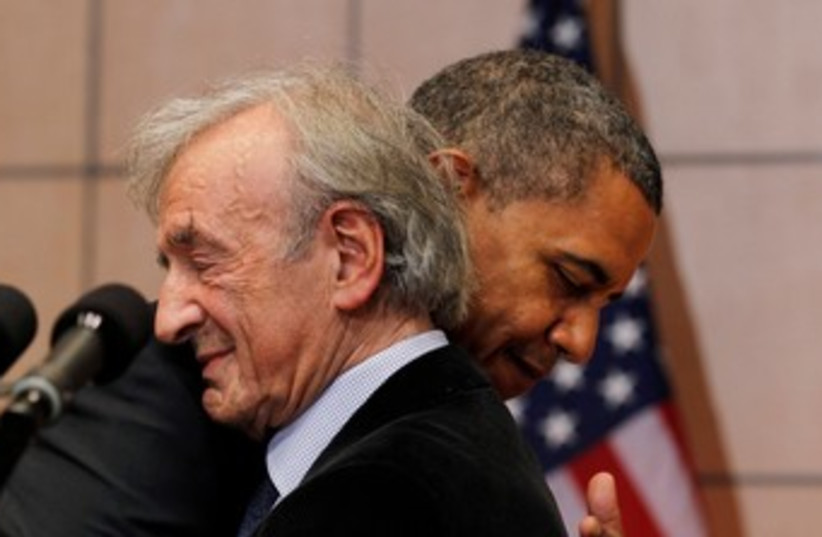 Obama and Elie Weisel 370 (photo credit: REUTERS/Jason Reed)