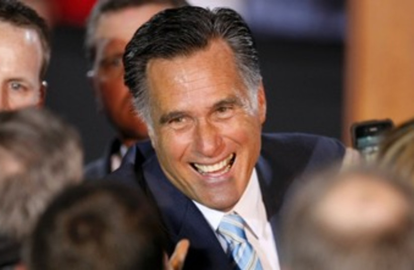 Romney celebrates 370 (photo credit: REUTERS)