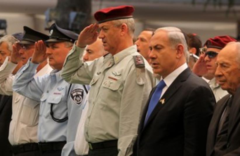 PM Netanyahu and IDF Chief of Staff Gantz at Mt. Herzl 370 (photo credit: Marc Israel Sellem/The Jerusalem Post)