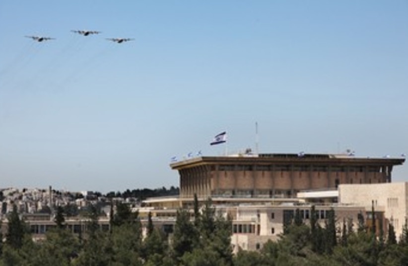 IAF planes over Knesset in J'lem, Independence Day 370 (photo credit: Marc Israel Sellem)