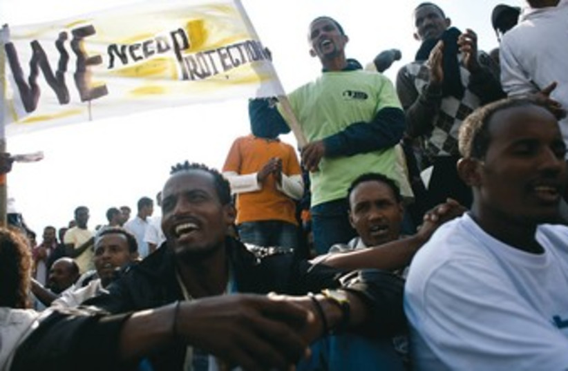African migrants protest in Tel Aviv_370 (photo credit: Reuters)