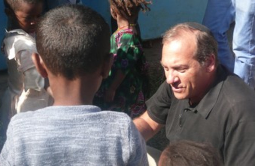 Rabbi Yechiel Eckstein in Ethiopia (photo credit: Ruth Eglash)
