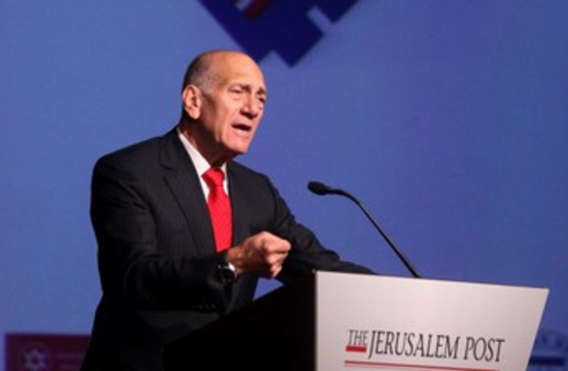 Ehud Olmert at the Jerusalem Post Conference 370 (photo credit: Marc Israel Sellem)