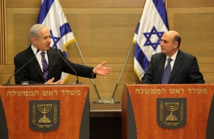 Binyamin Netanyahu and Shaul Mofaz 370 (photo credit: Marc Israel Sellem)