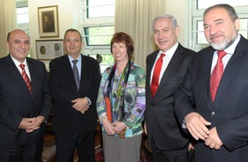 Mofaz, Barak, Ashton, Netanyahu, Liberman_370 (photo credit: GPO)