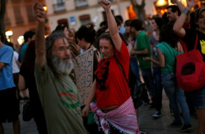 "1-year anniversary of Spain's ""Indignados"" movement 370 R (photo credit: REUTERS)"