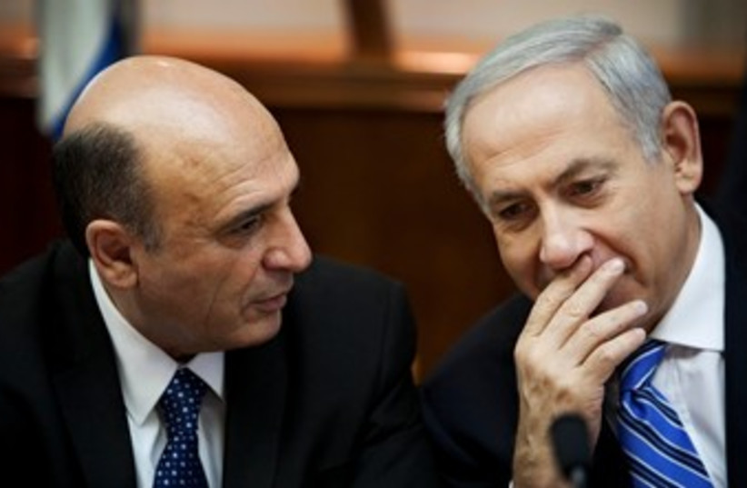 Mofaz and Netanyahu at cabinet meeting 370 (photo credit: REUTERS)