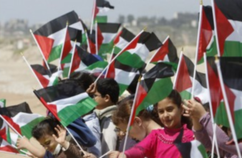 Palestinian children commemorate Nakba Day. (photo credit: REUTERS/Sharif Karim)