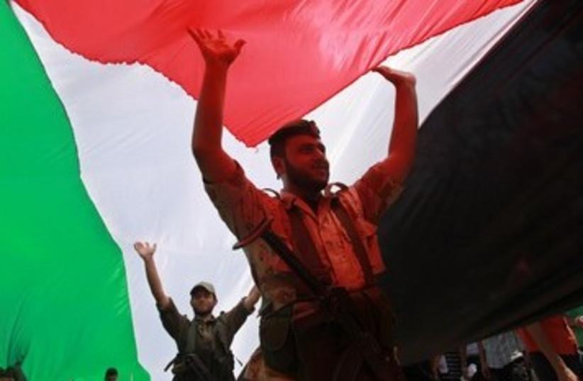 Rally marking Nakba in Gaza City 370 (photo credit: REUTERS/Mohammed Salem)