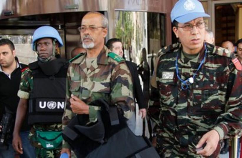 UN Observers leaving (illustrative) (photo credit: REUTERS/Khaled al-Hariri )