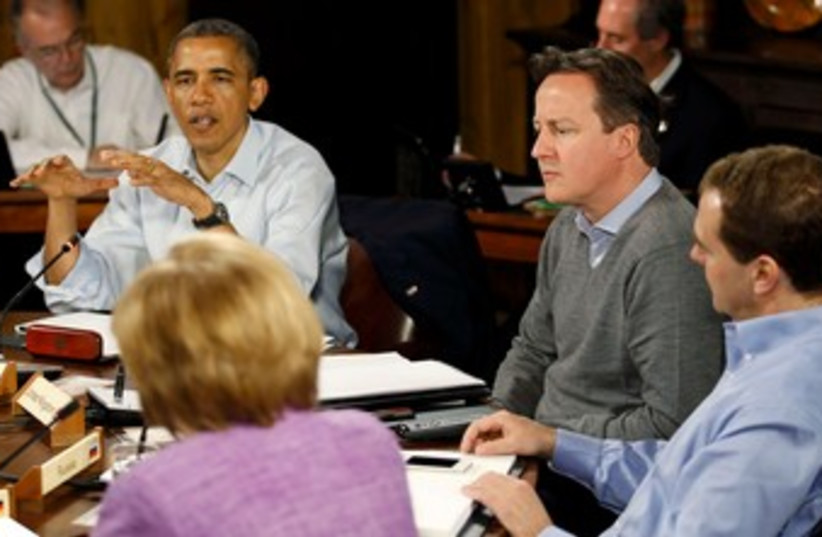 US President Barack Obama speaks at G8 summit 370 (R) (photo credit: REUTERS/Andrew Winning)