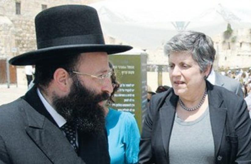 Napolitano speaks Western Wall Rabbi Shmuel Rabinowitz_370 (photo credit: Courtesy Western Wall Rabbi)