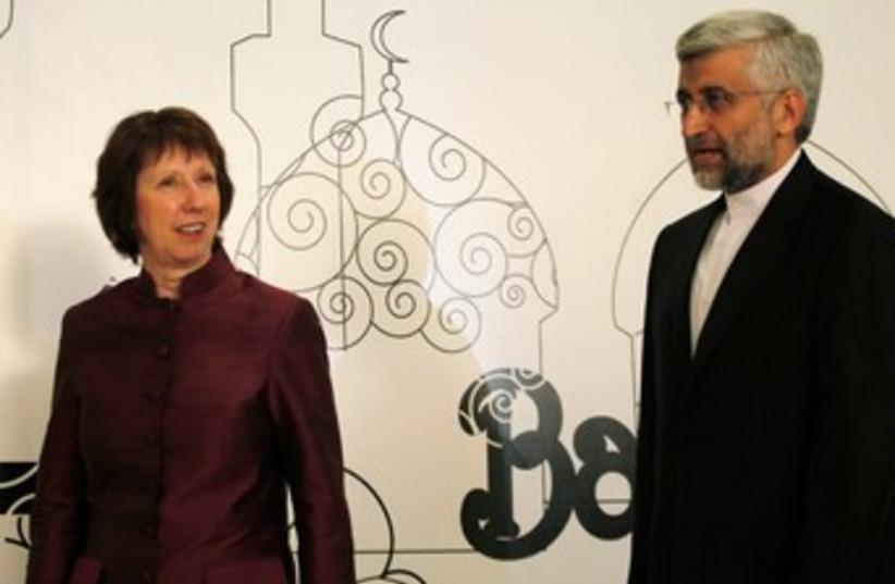Catherine Ashton, Iranian negotiator Saeed Jalili 370 (R) (photo credit: REUTERS/Thaier al-Sudani)