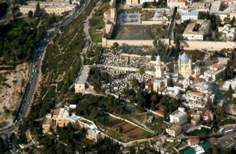 Mount Zion aerial view from south (photo credit: BiblePlaces.com)